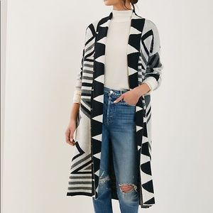 Anthropologie geometric knit duster kimono